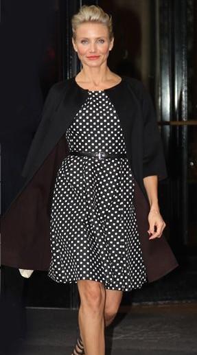 Help me find this black polka dot dress that Cameron Diaz is wearing. - SeenIt