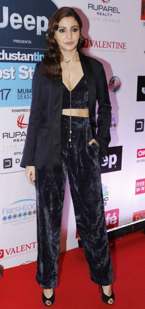 Yay or Nay? Anushka Sharma wearing black velvet separates of a cropped top and loose pants with a blazer to the HT most stylish awards last night - SeenIt