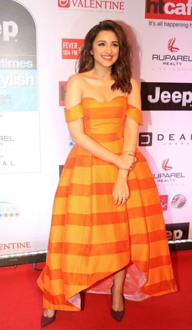 Yay or nay? Parineeti Chopra wore an off-shoulder Avaro Figlio dress and accessorized her look from Isharya  to the HT most stylish awards last night - SeenIt
