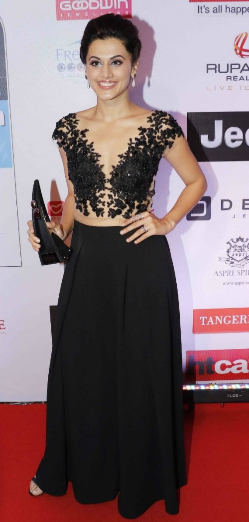 Yay or Nay? Taapsee Pannu wearing a Chrystelle Atallah sheer and shimmery top with flared pants from Pink Porcupines at the HT most stylish awards last night - SeenIt