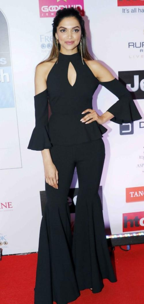 Yay or Nay? Deepika Padukone wearing a black cold-shoulder flared top and flared pants, both from Milly at the HT most stylish awards last night in Mumbai - SeenIt