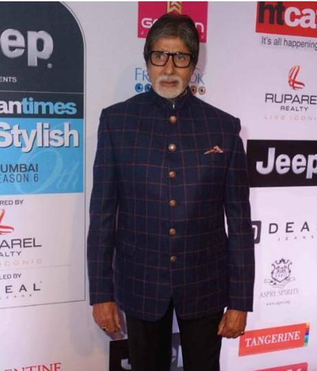 Yay or Nay? Amitabh Bachchan wearing a plaid bandhagala suit at the HT most stylish awards last night - SeenIt