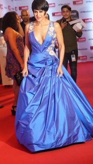 Yay or Nay? Mandira Bedi wearing a blue plunging gown at the HT most stylish awards last night - SeenIt
