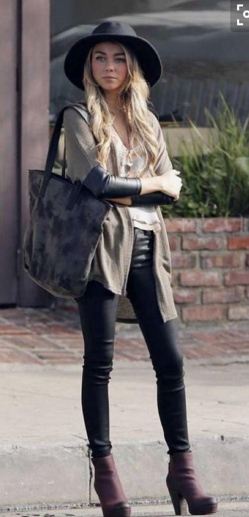 Want the black jeans , shrug, black hat, black shoulder bag that Sarah Hyland is wearing - SeenIt