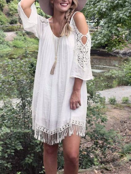 Where can I find this white cold shoulder dress with tassels. - SeenIt