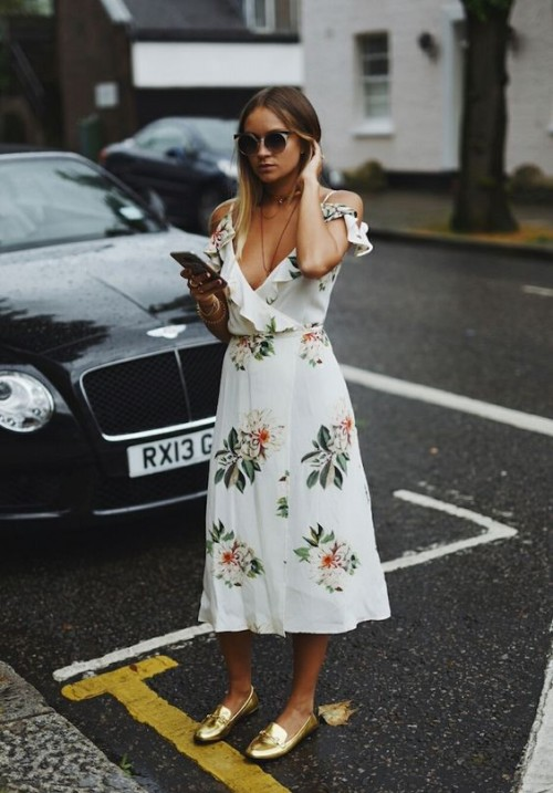 Looking for a similar white floral cold shoulder ruffled midi/maxi dress and the golden loafers. - SeenIt
