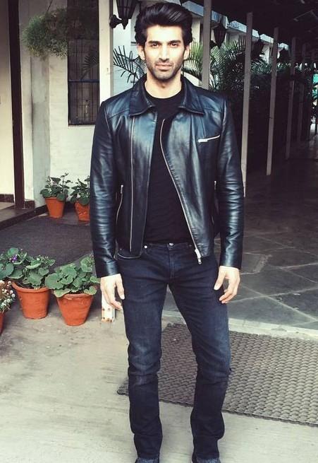 Looking for the black biker jacket with tee and jeans that Aditya Roy Kapoor is wearing - SeenIt