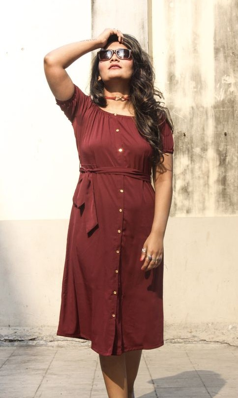 Looking for a burgundy off shoulder midi dress similar to what Riddhima Khanna is wearing. - SeenIt