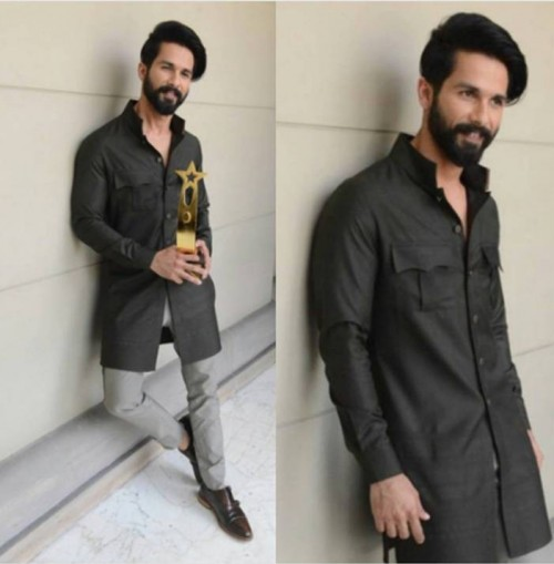 Yay or Nay? The long charcoal shirt and light grey pants that Shahid Kapoor is wearing - SeenIt
