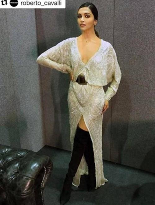 Yay or Nay? The ivory kimono dress with knee high black boots that DeepikaPadukone is wearing - SeenIt