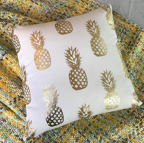 Help me find something similar to this white and gold  pineapple print cushion cover - SeenIt