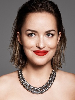Help me find the silver chain necklace that Dakota Johnson is wearing and also the red lipstick. - SeenIt