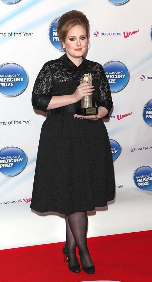 Help me find a similar black midi dress that Adele is wearing - SeenIt