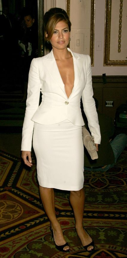 Looking for a white blazer and pencil skirt similar to what Eva Mendes is wearing along with the black peep toe heels. - SeenIt