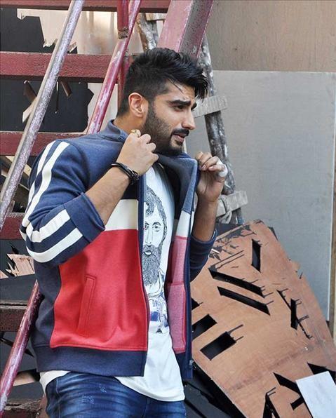 Help me find similar blue, white and red stripes jacket like Arjun Kapoor is wearing - SeenIt