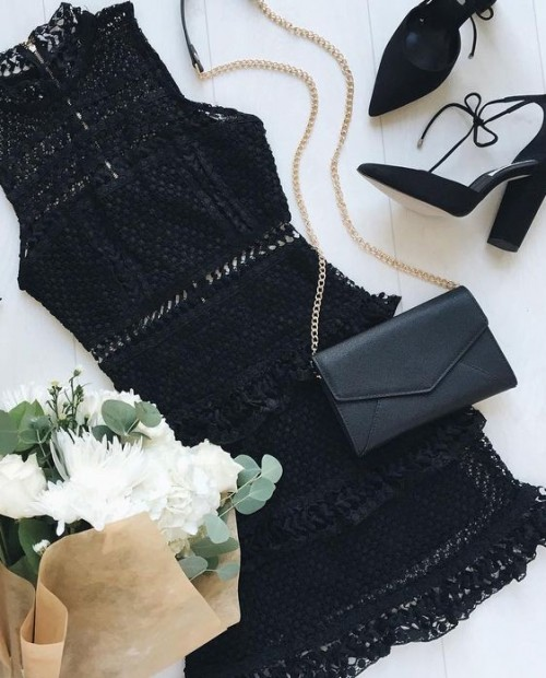 Looking for a similar black lace dress, envelope sling bag and lace up heels. - SeenIt