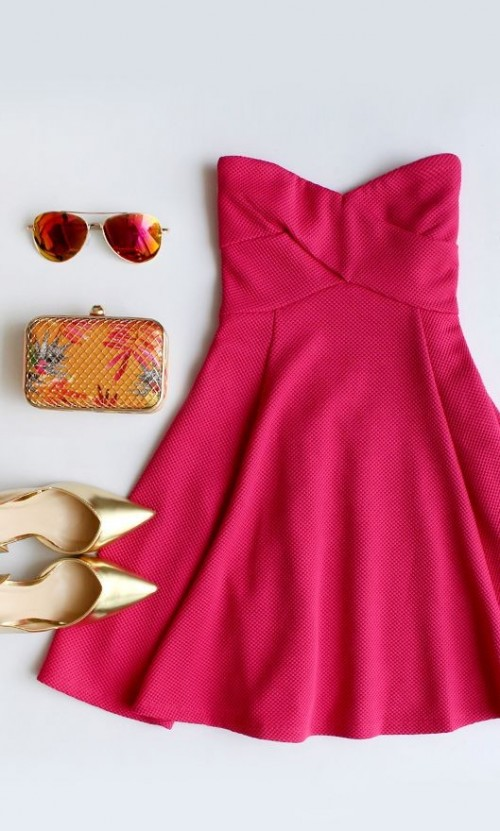 Help me find this pink tube dress, aviators, golden pointed toe heels and mustard floral box clutch. - SeenIt