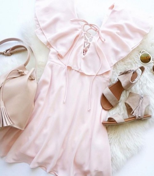 Help me find similar pink ruffle dress with sandals and pink tassel bag - SeenIt