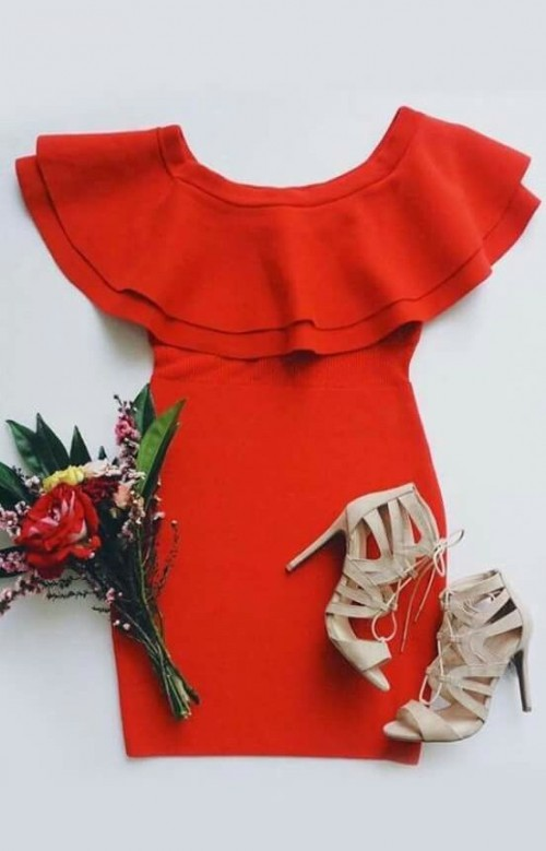 Looking for a similar red dress with ivory heels - SeenIt