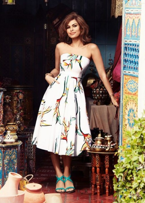 Yay or Nay? The white floral tube midi dress that Eva Mendes is wearing. - SeenIt