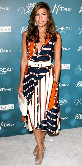 Yay or Nay? Eva Mendes in blue, orange and white striped midi dress with white belt. - SeenIt