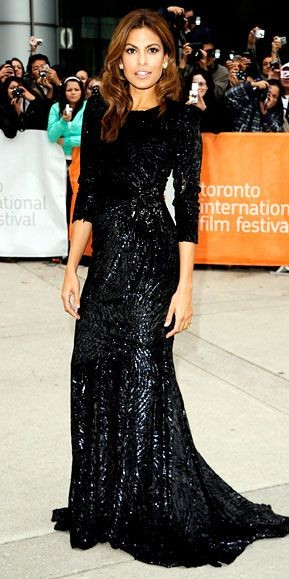 Yay or Nay? Eva Mendes in a black embellished gown. - SeenIt