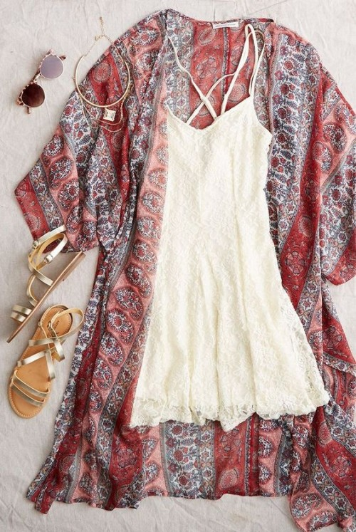 Looking for the white dress with tribal print kimono and the sandals - SeenIt