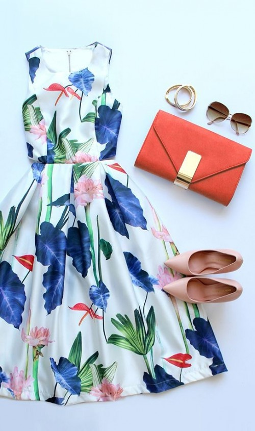 looking for the similar white floral dress with orange clutch and pink heels - SeenIt