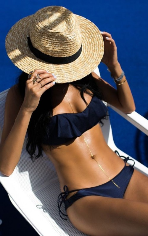 Help me find the blue ruffle bikini and the hat - SeenIt