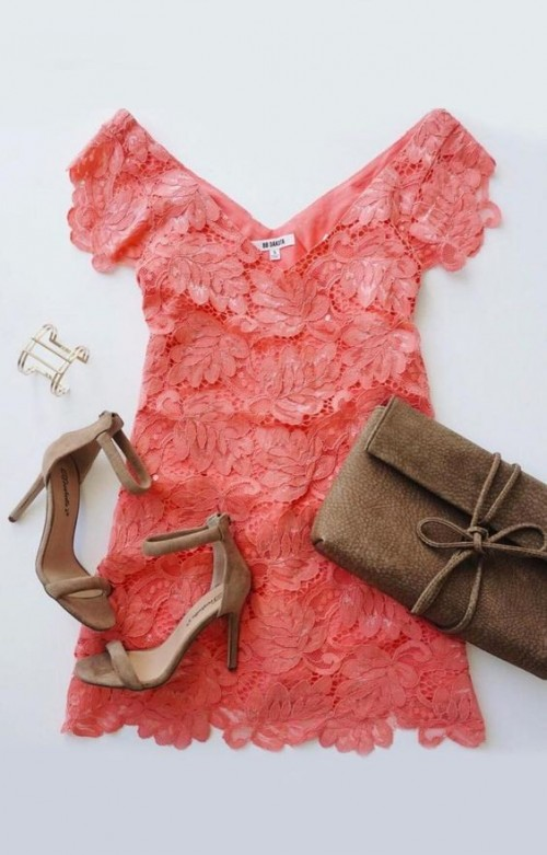 Please help me find a similar coral lace dress, beige suede ankle strap stiletto heels and the golden cuff bracelet. - SeenIt