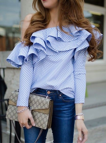 Help me find this blue striped one-shoulder ruffle top - SeenIt
