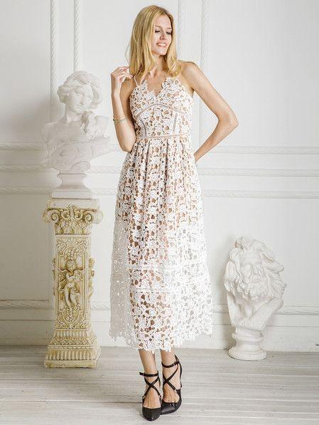 Where can I find a similar white lace spaghetti strap midi dress? - SeenIt