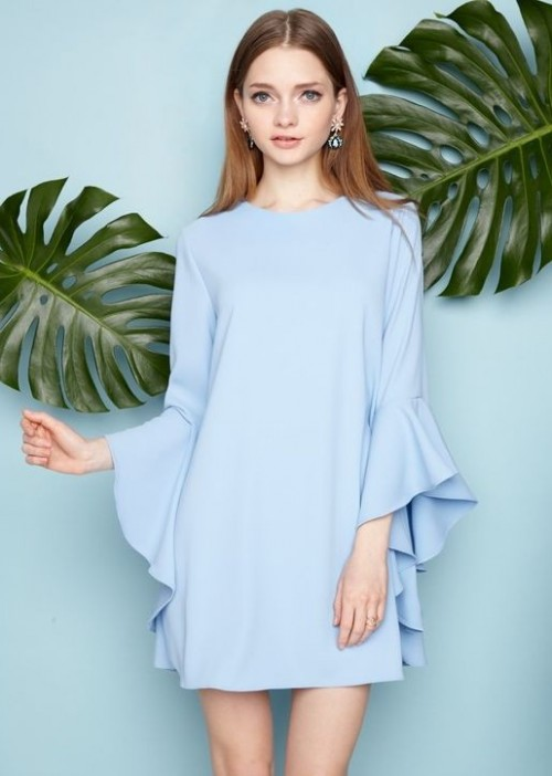Looking for this pastel blue bellsleeves dress - SeenIt