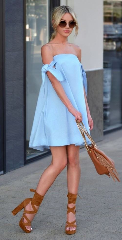 Looking for the blue tube dress with brown lace-up block heels and the fringe bag - SeenIt