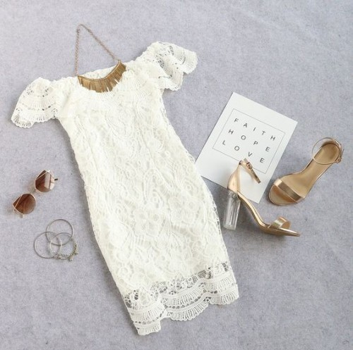 Help me find the white off shoulder ruffle lace dress along with the golden tassel necklace and cateye sunglasses. - SeenIt