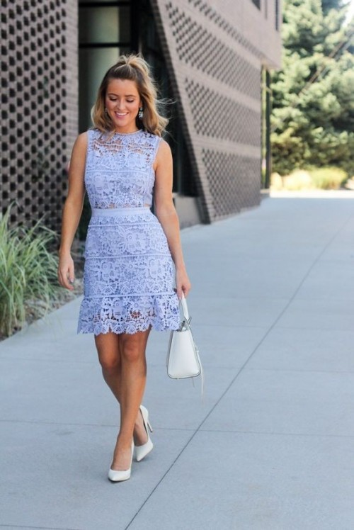 Want the entire outfit..Blue sleeveless lace dress, white stiletto pumps and white top handle bag. - SeenIt