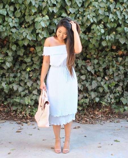 Help me with this pastel blue off shoulder ruffled midi dress. - SeenIt
