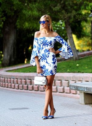 Looking for this white and blue floral off shoulder bell sleeves bodycon dress. - SeenIt