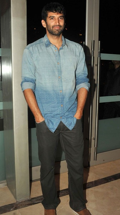 Help me find this shaded blue shirt and grey trousers that Aditya Roy Kapoor is wearing - SeenIt