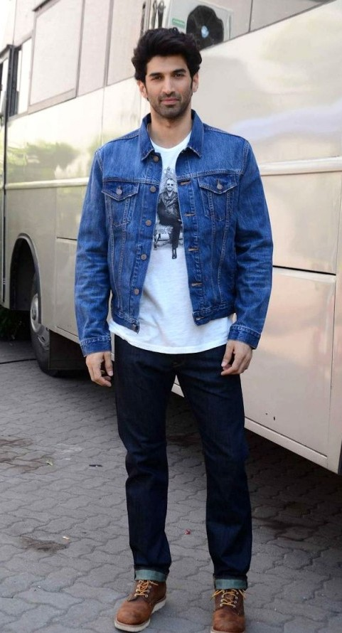 Help me find the blue denim jacket with jeans along with the brown shoes that Aditya Roy Kapoor is wearing - SeenIt