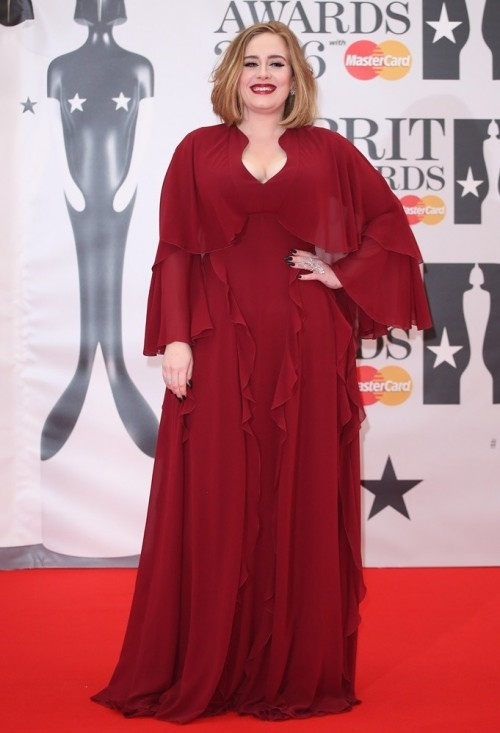 Looking for similat to this red ruffled bell sleeves gown that Adele was wearing - SeenIt