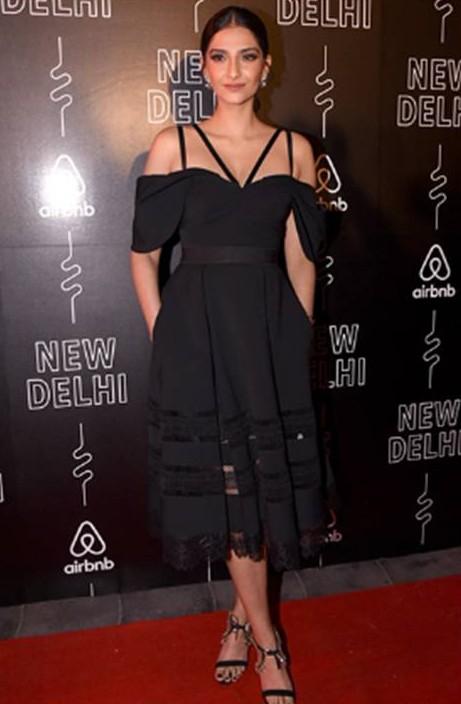 Yay or Nay? Sonam Kapoor in this black midi dress - SeenIt