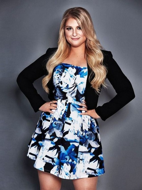 Help me find similar blue-black floral dress with a black shrug like Meghan Trainor is wearing - SeenIt