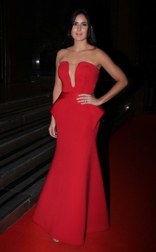 Yay or Nay? Katrina Kaif wearing a red strapless Abu Jani & Sandeep Khosla gown at the Hello Hall of Fame awards 2017. - SeenIt