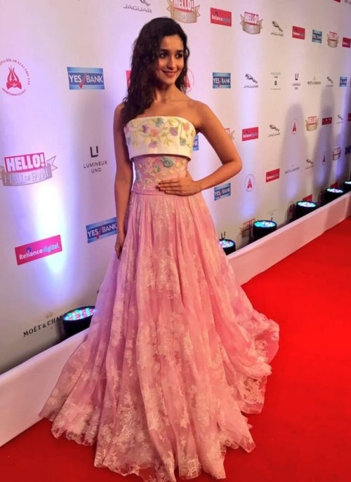 Yay or Nay? Alia Bhatt wearing a strapless floral blush pink gown at the Hello Hall of Fame awards 2017. - SeenIt