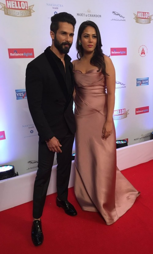 Yay or Nay? Shahid Kapoor with wife Mira Rajput who wore a Monisha Jaisingh gown arrived at the Hello Hall of Fame awards 2017. - SeenIt