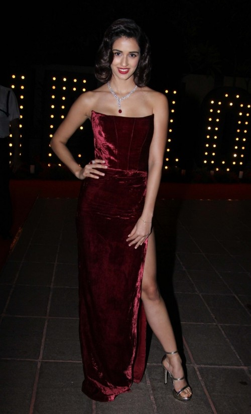 Yay or Nay? Disha Patani wearing a strapless velvet slit gown by Swapnil Shinde at the Hello Hall of Fame awards 2017. - SeenIt