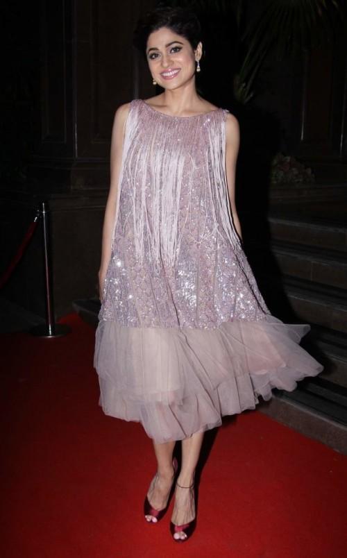 Yay or Nay? Shamita Shetty wearing a shimmer midi dress at the Hello Hall of Fame awards 2017. - SeenIt