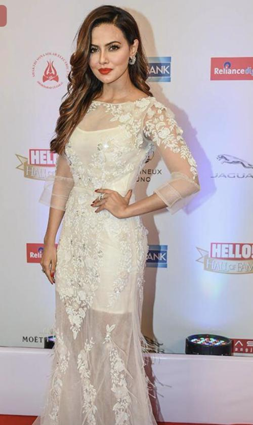 Yay or Nay? Sana Khan wearing a white sheer embellished gown at the Hello Hall of Fame awards 2017. - SeenIt