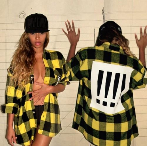Looking for this black yellow plaid shirt that Beyonce is wearing - SeenIt